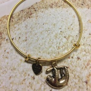 Jewelry - Gold plated sloth adjustable charm bracelet